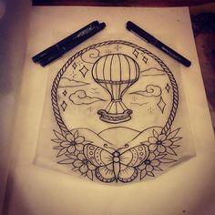 phoebeladdstattoo This is available #butterfly #rope #hotairballoon #tattoo #design #traditionaltattoo #butterflytattoo #cambridge #millroad #uktattoo #uktta #newmarket #bestofbritish #hotairballoontattoo #butterflytattoo
