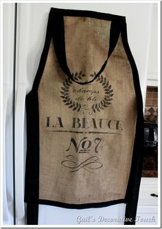 DIY French Grain Burlap Baker's Apron made with 9 dollar vintage grain sack reproductions.
