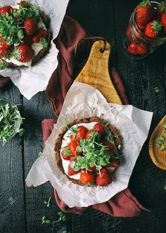 Mini Strawberry Chocolate Tart with Whipped Goat Cheese + Basil Micro Greens