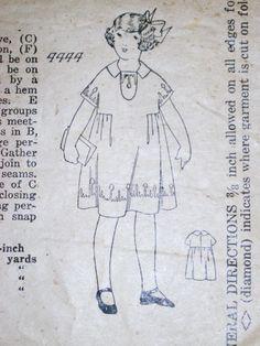 Vtg Antique Sewing Pattern 1900s 1910s Sz 6 Edwardian Girls Dress   eBay