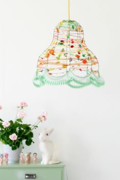 Customize a plain wire lamp with fun trim!