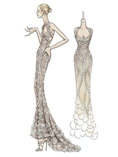 Atelier Versace Spring 2009. Nude colored evening dress entirely embroidered with transparent sequins and crystals in a degrade effect