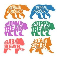Momma Bear Poppa Baby Cuttable Design Cut File. Vector, Clipart, Digital Scrapbooking Download, Available in JPEG, PDF, EPS, DXF and SVG. Works with Cricut, Design Space, Sure Cuts A Lot, Make the Cut!, Inkscape, CorelDraw, Adobe Illustrator, Silhouette Cameo, Brother ScanNCut and other compatible software.
