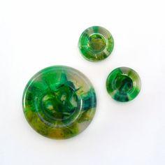 Resin Handmade Cabochon - Set 3 pieces - Round - Green di archidee su Etsy