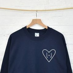 Personalised Couples Initials Monogram Heart Sweatshirt