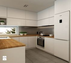 Apartment Rembertów 80 - Average open kitchen in the shape of the letter L, minimalist style - image of design me too Kitchen Cupboard Designs, Kitchen Room Design, Kitchen Colors, Home Decor Kitchen, Modern Kitchen Design, Kitchen Furniture, Kitchen Interior, Kitchen Cabinets, Furniture Plans