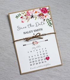 Rustic Watercolour Floral Save the Date, Floral, Boho Save the Date. Bohemian Floral Style, Save the Date, Floral, Watercolour, Vintage