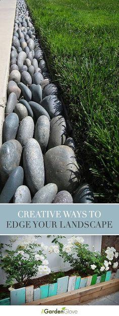 Creative Ways to Edge Your Landscape • Tips & ideas! Sieht auf dem Bild toll aus, ist aber Scheiße, wenn Dreck (Laub) dazwischen fällt. Besser: noch - meinetwegen weiss eingefärbten - Beton dazwischen arbeiten.