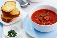 Jumping with energy, mexi beans are cheap, filling and tasty and taste great in this tomato soup.