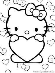 Hello Kitty Valentines Coloring Pages