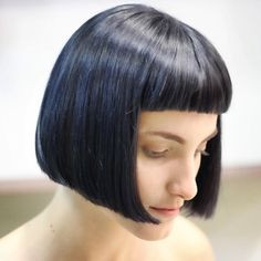 Valentina Crepax haircut--- black/blue hair colour   www.edensalon.it