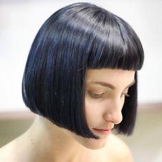 Valentina Crepax haircut--- black/blue hair colour   www.edensalon.it