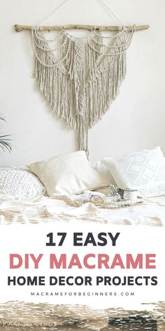 There is nothing more satisfying than creating your very own Macrame home decor like a Macrame Wall hanging, Macrame Planter, or Macrame coaster. Here are 17 easy DIY BOHO home decor Macrame ideas for beginners to get you inspired! #macrame #macrameforbeginners #macramehomedecor #boho #diy #homedecor Macrame Supplies, Macrame Projects, Free Macrame Patterns, Macrame Curtain, Boho Diy, Own Home, Plant Hanger, Coaster, Easy Diy