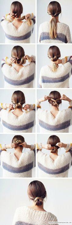 Simple bun hairstyle for long or shorter hair