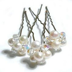 Ivory and ab crystal hairpins in a flower design. £16.99 #ayedo.co.uk