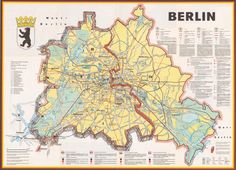 Berlin : a cold war map showing the Berlin Wall as a bricked-up barrier and barbed wire surrounding West Berlin, 1963