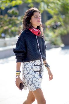 Leandra Medine in a red bandana scarf, lace skirt and lots of bracelets