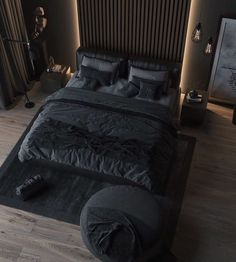 Awesome 40 Fantastic Industrial Bedroom Design Ideas That Everyone Will Like It Black Bedroom Design, Industrial Bedroom Design, Luxury Bedroom Design, Interior Design, Interior Modern, Modern Exterior, Bed Design, House Design, Studio Design