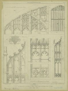 Oxford, no. 1. wooden door of the entrance gateway St. John's College, no. 2. wooden tracery of stalls, Merton College chapel.
