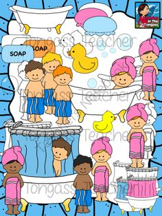 Bath Clipart Bundle from tongassteacher on TeachersNotebook.com -  (36 pages)  - Rub a dub dub in the tub! This 36 piece clipart bundle features a huge variety of bath and shower graphics! The bundle includes claw foot bath tubs, showers, kids in towels, shower caps, soap, soap bubbles, and of course, rubber ducky!