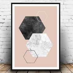 Geometric print, Hexagon print, Marble decor, Pink and black, Minimalist print, Scandinavian design, Watercolor print, Home decor, wallart