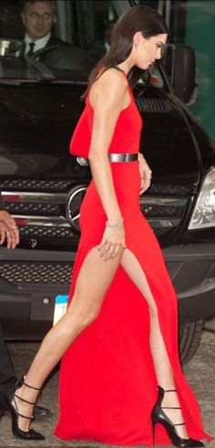 Red Thigh Split Maxi Dress