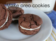 Two chocolate cookies with a delightful creamy filling.  Hmmm, kind of reminds me of Oreos.  Fun and easy to make.  Starts with a mix to make this quick and easy.