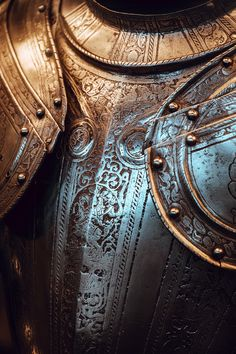 Detail of an ornated medieval armor at the permanent collection of the Musée d'art et d'histoire in Geneva, Switzerland. Medieval Armor, Art Museum, Geneva Switzerland, Leather Jacket, Culture, Museums, Galleries, Photography, Collection