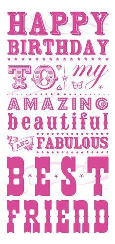 Happy Birthday to Best Friend Card.  #pink #BDCards #Birthday