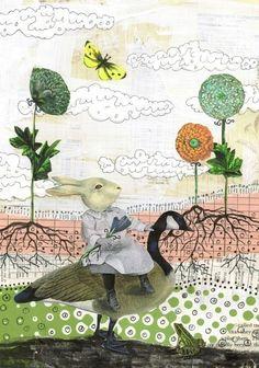 Rabbit Animal Art Print , Collage Art  Reproduction , Whimsical Art , 5x7. $15.00, via Etsy.
