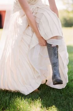 gown and wellies