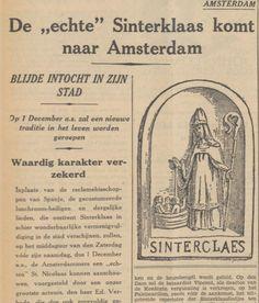 'echte' Sinterklaas komt naar Amsterdam, Krantenartikel: De Tijd : godsdienstig-staatkundig dagblad 01-11-1934. Lees hier het gehele artikel http://www.delpher.nl/nl/kranten/view?identifier=ddd%3A010536202%3Ampeg21%3Aa0085&coll=ddd