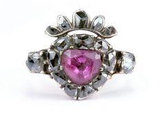 """Allaboutrings: """"Diamante portugués raro y topacio rosado corona el anillo del corazón c.1750 https://www.rubylane.com/item/403702-JY_Rg_g012/Portuguese-Diamond-Pink-Topaz-x91Crowned-Heartx92?search=1"""""""