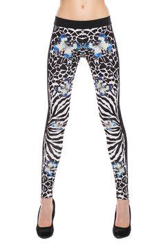 Anatomic zebra printed leggings with butterflies accent multicolor 39.93€  www.darktony.com