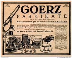 Original-Werbung/ Anzeige 1925 - GOERZ FABRIKATE / PHOTO / OPTIK / BERLIN - FRIEDENAU  - ca. 140 x 110 mm