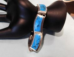 Blue Turquoise Inlay Bracelet TAXCO Mexico 950 Fine Sterling Silver Jewelry
