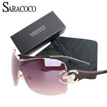 30ee2e3b77 SARACOCO Vintage Gradient Sunglasses Women With Package Fashion Brand  Designer Gold Frame Oversized Sun Glasses Oculos