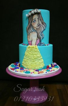 Pretty girl cake (hand painted)  - Cake by Sara Mohamed