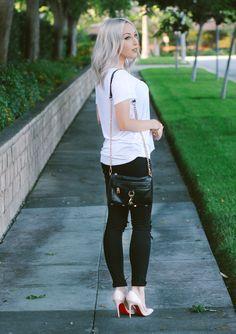 Blondie in the City | Black Skinny Jeans, Basic White Tee, Christian Louboutin's, Rebecca Minkoff Bag | Street Style #OOTD
