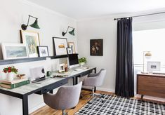 Custom Framing for our Home Office With Framebridge - Emily Henderson Apartment Office, Apartment Living, Living Room Nook, Home Office Storage, Guest Room Office, Decorating Small Spaces, Guest Bedrooms, Office Interiors, Home Renovation