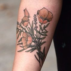 """#californiapoppy and #lavender by Alice Carrier @alicerules #botanical #flowertattoo #portlandtattoo #wonderlandpdx"""