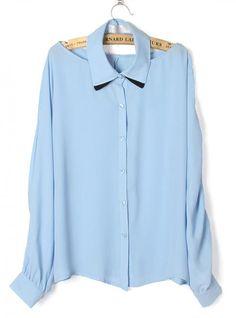 Sexy Chiffon Blue Shirt