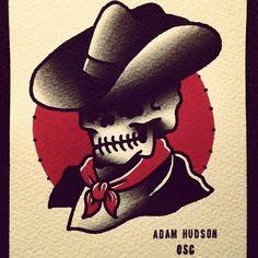 #traditional #tattoo #skull #cowboy