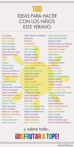AYUDA PARA MAESTROS: 100 ideas para hacer con los niños en verano