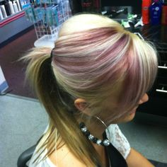 I did Violet/red highlights with blonde hair.. Fun!!