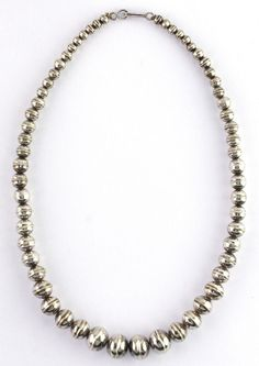 """Vintage Sterling Silver Old Pawn Graduated  """"Navajo Pearls"""" Bench Bead Necklace"""
