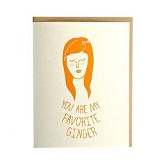 Ginger greeting card handmade red head hand by ArthursPlaidPants, $4.00