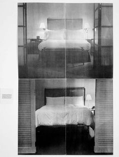 Lorna Simpson - The Bed (1995, Serigraph on 4 felt panels with 1 felt text panel, 183 x 114.5 cm overall)