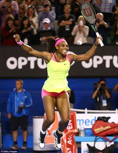 Serena WIlliams jumps for joy after winning her sixth Australian Open title on Saturday