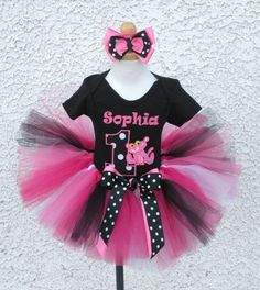 Embroidered Black and Pink Pink Panther Birthday Outfit For Girls